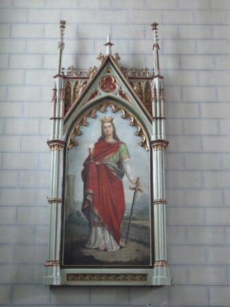 Dipinto a olio di santo in Chiesa Gotica