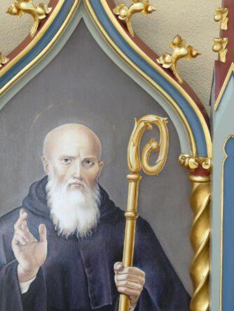 Particolare di dipinto di San Benedetto