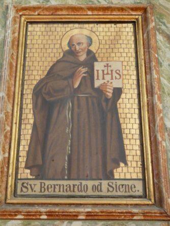 Puttura di San Bernardo con olio coloro oro