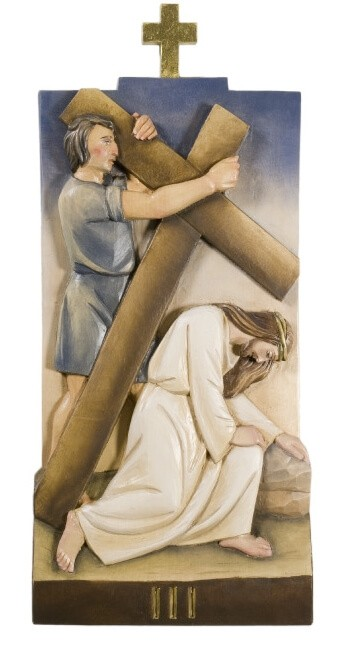 Wooden Way Of The Cross Sculpture Compassion Collection Ferdinand Stuflesser 1875